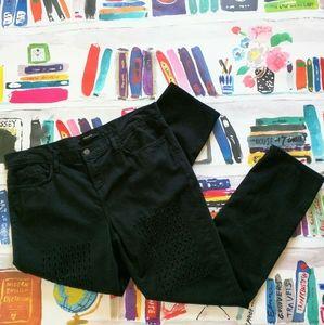 J Brand Black Aidan Boyfriend Jeans Cut Out Sz 30